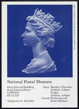 Postcard - The Arnold Machin Bust (in blue) PPC produced by National Postal Museum unused and fine