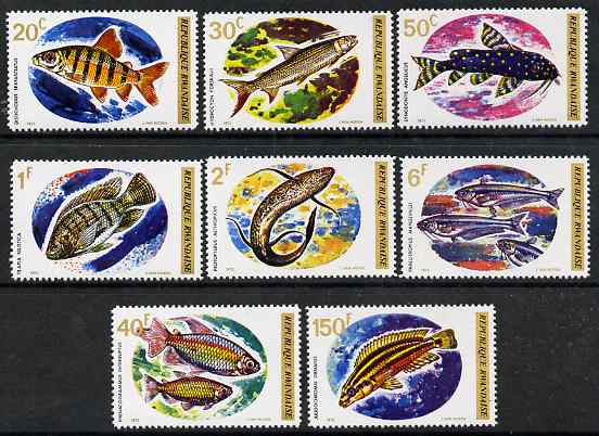 Rwanda 1973 Fish perf set of 8 unmounted mint, SG 553-60