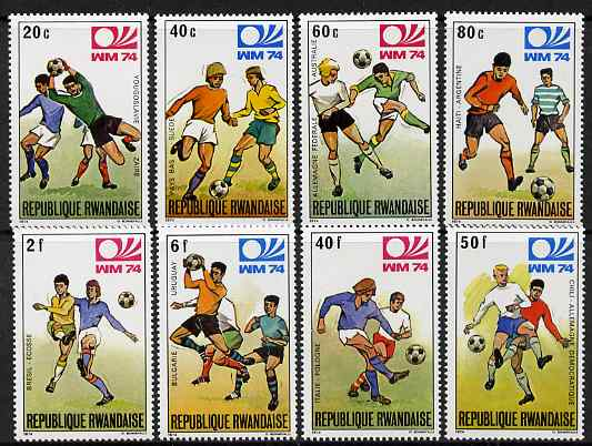 Rwanda 1974 Footnall World Cup perf set of 8 unmounted mint, SG 594-601