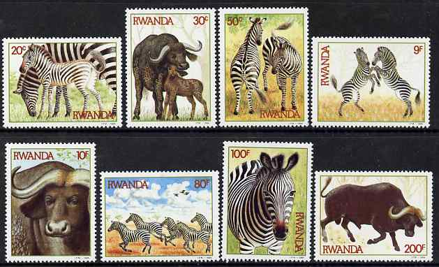 Rwanda 1984 Zebras & Buffaloes perf set of 8 unmounted mint, SG 1210-17