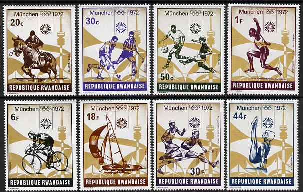 Rwanda 1972 Munich Olympic Games (2nd issue) perf set of 8 values unmounted mint, SG 490-97