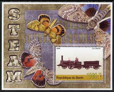 Benin 2006 Early Steam Locos #2 (Columbine) perf m/sheet with Butterflies in background unmounted mint. Note this item is privately produced and is offered purely on its thematic appeal