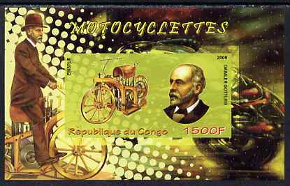 Congo 2009 Motorcycles & Gottlieb Daimler imperf m/sheet unmounted mint