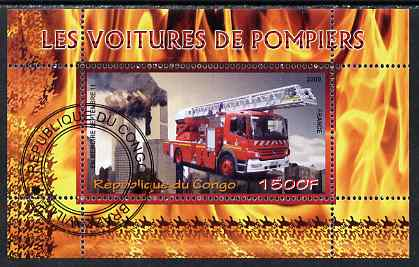 Congo 2009 Fire Engines from France perf m/sheet fine cto used