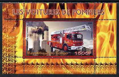 Congo 2009 Fire Engines from France perf m/sheet unmounted mint
