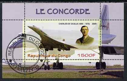 Congo 2009 Concorde & General De Gaulle perf m/sheet fine cto used