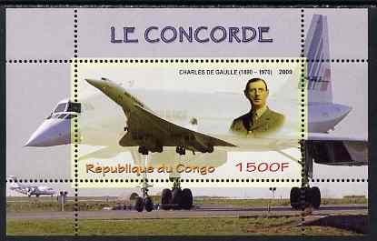 Congo 2009 Concorde & General De Gaulle perf m/sheet unmounted mint
