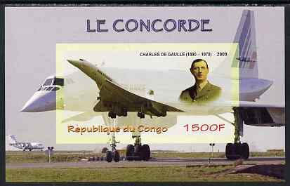 Congo 2009 Concorde & General De Gaulle imperf m/sheet unmounted mint