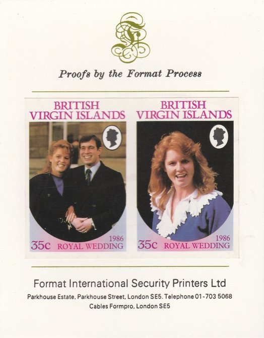 British Virgin Islands 1986 Royal Wedding (Andrew & Fergie) 35c imperf se-tenant proof pair mounted on Format International proof card as SG 605a
