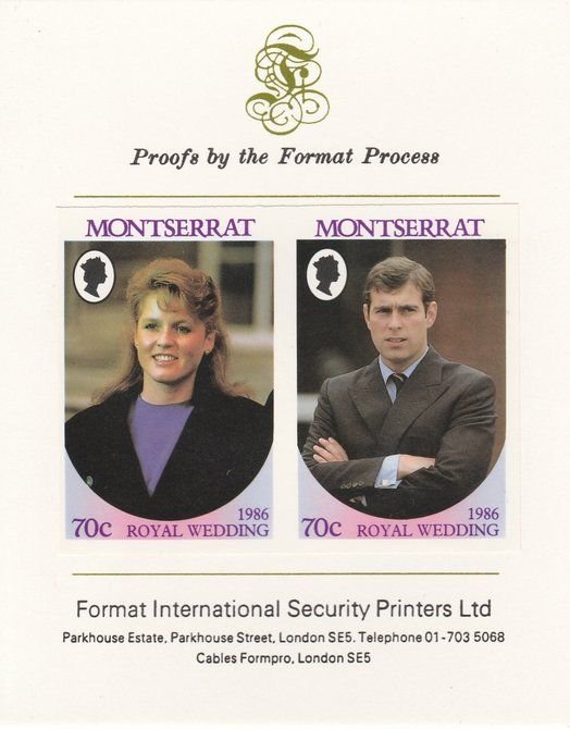 Montserrat 1986 Royal Wedding (Andrew & Fergie) 70c imperf se-tenant proof pair mounted on Format International proof card as SG 691a