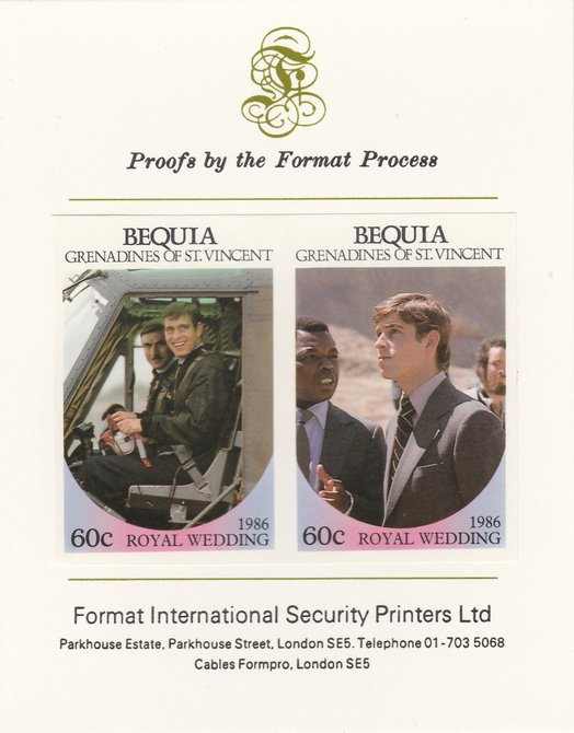 St Vincent - Bequia 1986 Royal Wedding (Andrew & Fergie) 60c imperf se-tenant proof pair mounted on Format International proof card