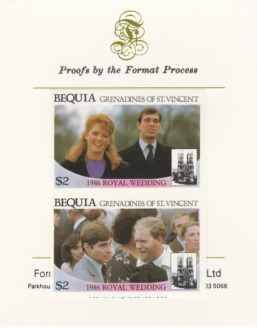 St Vincent - Bequia 1986 Royal Wedding (Andrew & Fergie) $2 imperf se-tenant proof pair mounted on Format International proof card
