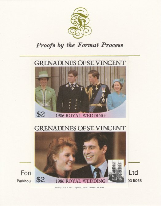 St Vincent - Grenadines 1986 Royal Wedding (Andrew & Fergie) $2 imperf se-tenant proof pair mounted on Format International proof card as SG 488a