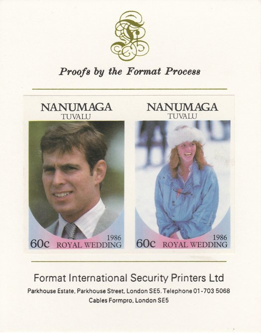 Tuvalu - Nanumaga 1986 Royal Wedding (Andrew & Fergie) 60c imperf se-tenant proof pair mounted on Format International proof card