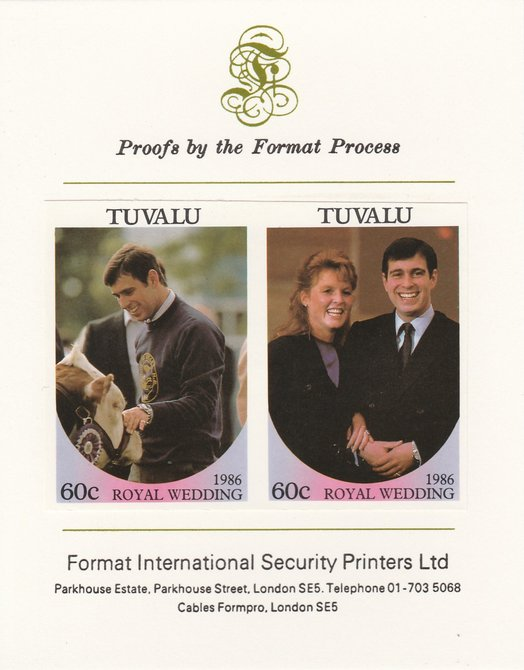 Tuvalu 1986 Royal Wedding (Andrew & Fergie) 60c imperf se-tenant proof pair mounted on Format International proof card as SG 397a