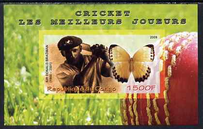 Congo 2009 Sir Donald Bradman & Butterfly imperf m/sheet unmounted mint