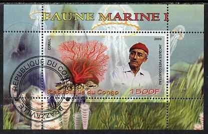 Congo 2009 Jacques Cousteau & Marine Fauna #1 perf m/sheet fine cto used