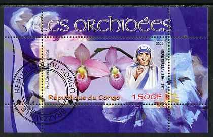 Congo 2009 Mother Teresa & Orchids perf m/sheet fine cto used