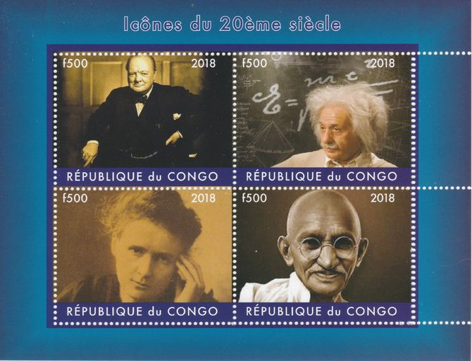 Congo 2018 Icons of the 20th Century #1 (Churchill,Einstein,Marie Curie & Gandhi) perf sheetlet containing 4 values unmounted mint. Note this item is privately produced and is offered purely on its thematic appeal.