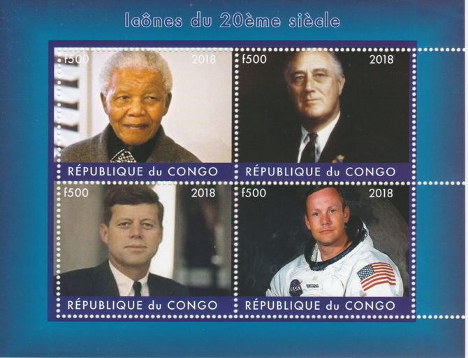 Congo 2018 Icons of the 20th Century #2 (Mandela, Roosevely, Kennedy & Neil Armstrong) perf sheetlet containing 4 values unmounted mint. Note this item is privately produced and is offered purely on its thematic appeal.