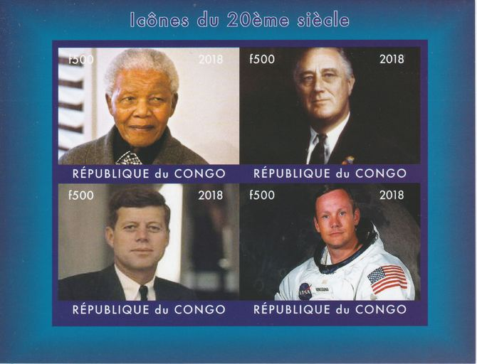 Congo 2018 Icons of the 20th Century #2 (Mandela, Roosevely, Kennedy & Neil Armstrong) imperf sheetlet containing 4 values unmounted mint. Note this item is privately produced and is offered purely on its thematic appeal.