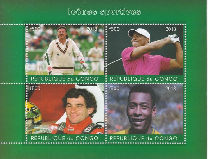 Congo 2018 Icons of Sport #1 (Botham,Tiger Woods, Senna & Pele) perf sheetlet containing 4 values unmounted mint. Note this item is privately produced and is offered purely on its thematic appeal.