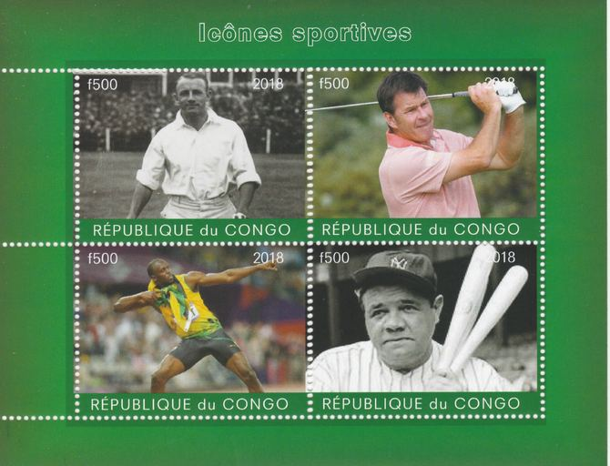 Congo 2018 Icons of Sport #2 (Bradman, Faldo, U Bolt & Babe Ruth) perf sheetlet containing 4 values unmounted mint. Note this item is privately produced and is offered purely on its thematic appeal.