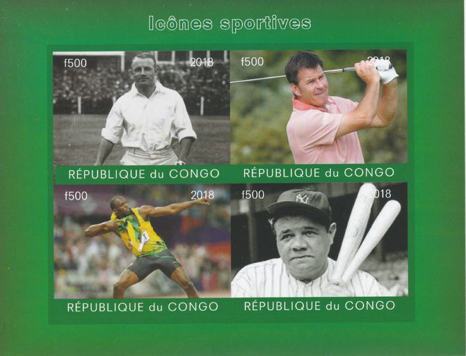 Congo 2018 Icons of Sport #2 (Bradman, Faldo, U Bolt & Babe Ruth) imperf sheetlet containing 4 values unmounted mint. Note this item is privately produced and is offered purely on its thematic appeal.