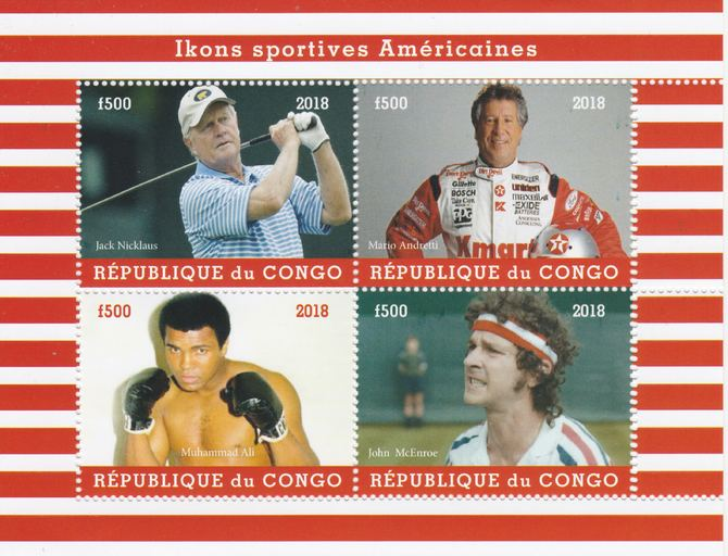 Congo 2018 Icons of American Sport #1 (Nicklaus,Andretti, M Ali & McEnroe) perf sheetlet containing 4 values unmounted mint. Note this item is privately produced and is offered purely on its thematic appeal.