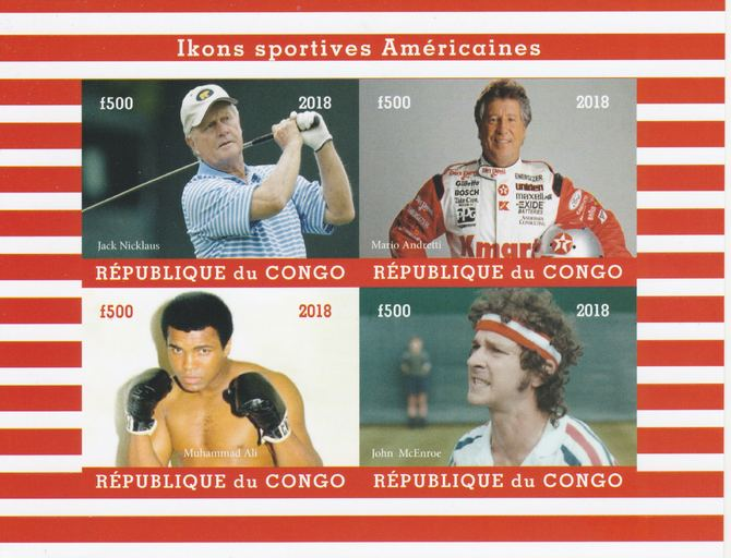Congo 2018 Icons of American Sport #1 (Nicklaus,Andretti, M Ali & McEnroe) imperf sheetlet containing 4 values unmounted mint. Note this item is privately produced and is offered purely on its thematic appeal.