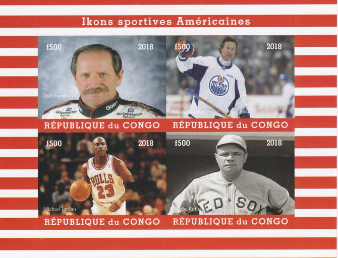 Congo 2018 Icons of American Sport #2 (NDale Earnhardt, Wayne Gretzky, M Jordan & Babe Ruth) imperf sheetlet containing 4 values unmounted mint. Note this item is privately produced and is offered purely on its thematic appeal.