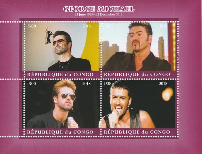 Congo 2018 George Michael #1 perf sheetlet containing 4 values unmounted mint. Note this item is privately produced and is offered purely on its thematic appeal.