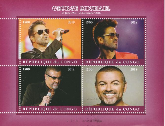 Congo 2018 George Michael #2 perf sheetlet containing 4 values unmounted mint. Note this item is privately produced and is offered purely on its thematic appeal.