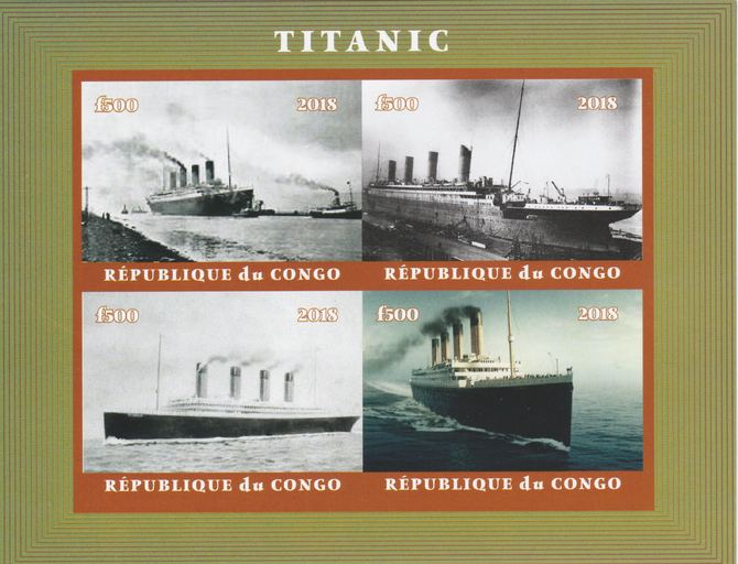 Congo 2018 The Titanic #1 imperf sheetlet containing 4 values unmounted mint. Note this item is privately produced and is offered purely on its thematic appeal.
