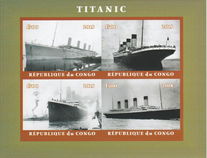 Congo 2018 The Titanic #2 imperf sheetlet containing 4 values unmounted mint. Note this item is privately produced and is offered purely on its thematic appeal.