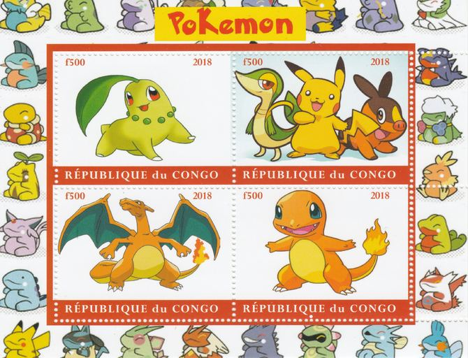 Congo 2018 Pokemon #1 perf sheetlet containing 4 values unmounted mint. Note this item is privately produced and is offered purely on its thematic appeal.