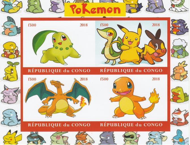 Congo 2018 Pokemon #1 imperf sheetlet containing 4 values unmounted mint. Note this item is privately produced and is offered purely on its thematic appeal., stamps on , stamps on  stamps on pokemon, stamps on  stamps on films, stamps on  stamps on movies, stamps on  stamps on cinema