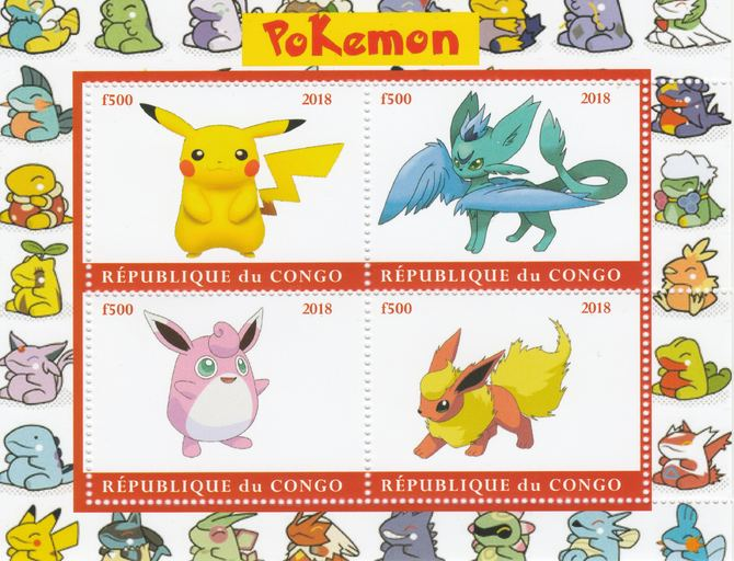 Congo 2018 Pokemon #2 perf sheetlet containing 4 values unmounted mint. Note this item is privately produced and is offered purely on its thematic appeal.