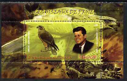 Congo 2009 John Kennedy & Marsh Harrier perf m/sheet unmounted mint