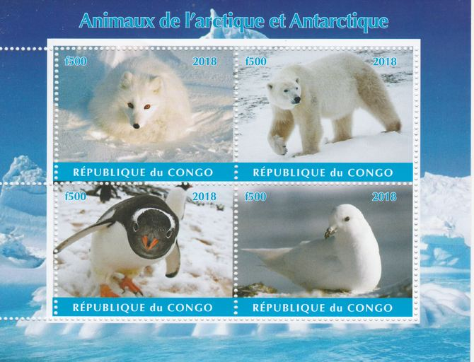 Congo 2018 Polar Animals & Birds #2 perf sheetlet containing 4 values unmounted mint