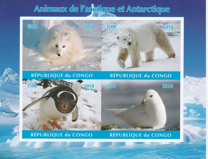 Congo 2018 Polar Animals & Birds #2 imperf sheetlet containing 4 values unmounted mint. Note this item is privately produced and is offered purely on its thematic appeal.