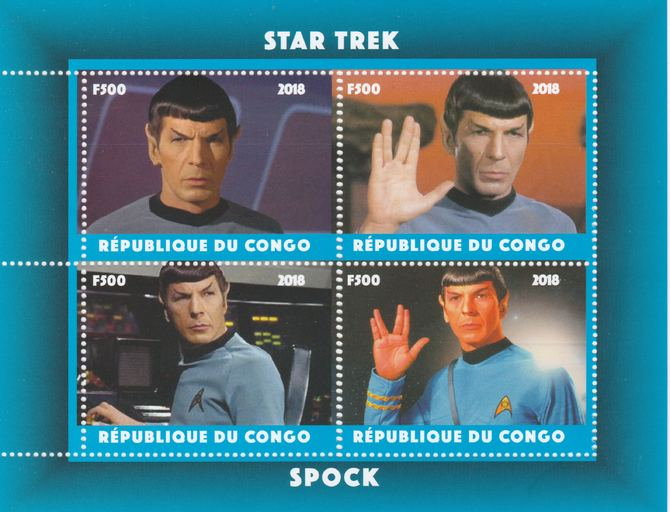 Congo 2018 Star Trek - Spok perf sheetlet containing 4 values unmounted mint