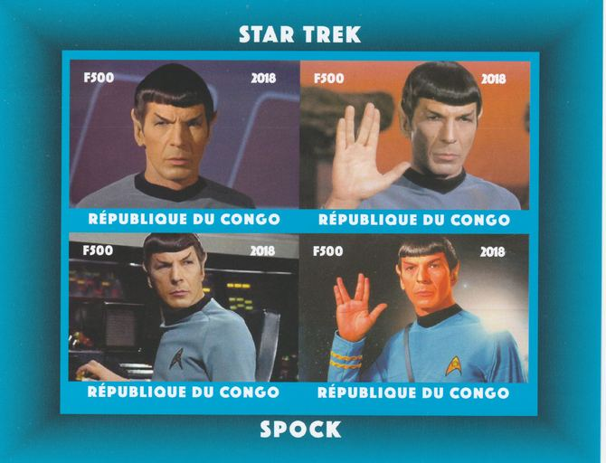 Congo 2018 Star Trek - Spok imperf sheetlet containing 4 values unmounted mint. Note this item is privately produced and is offered purely on its thematic appeal.