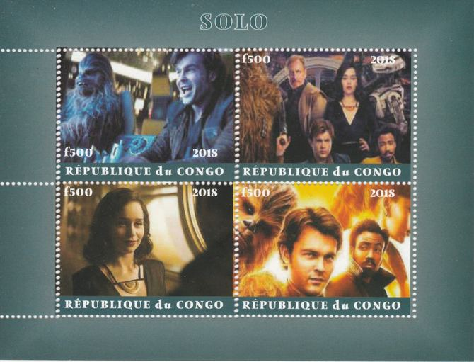 Congo 2018 Star Wars - Solo perf sheetlet containing 4 values unmounted mint. Note this item is privately produced and is offered purely on its thematic appeal.