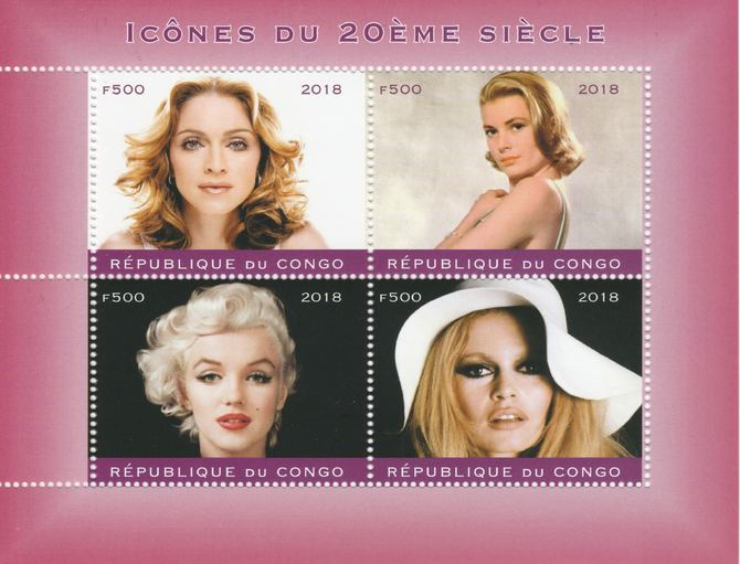 Congo 2018 Female Icons of 20th Century #2 perf sheetlet containing 4 values unmounted mint. Note this item is privately produced and is offered purely on its thematic appeal.