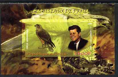 Congo 2009 John Kennedy & Marsh Harrier imperf m/sheet unmounted mint, stamps on personalities, stamps on kennedy, stamps on birds, stamps on birds of prey, stamps on usa presidents, stamps on americana