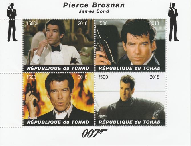 Chad 2018 James Bond - Pierce Brosnan perf sheetlet containing 4 values unmounted mint. Note this item is privately produced and is offered purely on its thematic appeal, it has no postal validity