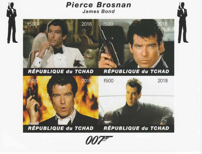 Chad 2018 James Bond - Pierce Brosnan imperf sheetlet containing 4 values unmounted mint. Note this item is privately produced and is offered purely on its thematic appeal, it has no postal validity