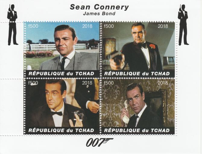 Chad 2018 James Bond - Sean Connery perf sheetlet containing 4 values unmounted mint. Note this item is privately produced and is offered purely on its thematic appeal, it has no postal validity