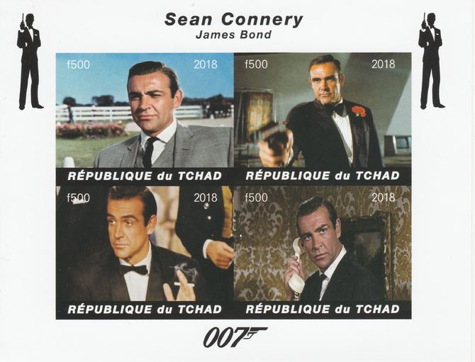 Chad 2018 James Bond - Sean Connery imperf sheetlet containing 4 values unmounted mint. Note this item is privately produced and is offered purely on its thematic appeal.